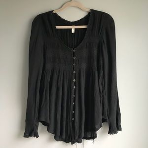 Free People Black Button Up Blouse Raw Hem (small)